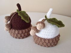Kid's Acorn Hat  Toddler Child  Brown White  Fall by MadeBySvea