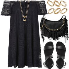 Black with detail by foreverdreamt on Polyvore featuring Topshop, Valentino, ASOS and Gorjana