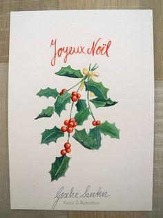 """Weihnachten - Original Aquarell - Ilex-Strauß """"Joyeux Noel"""" - ein Designerstück von Gesche-Santen bei DaWanda"""