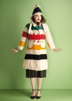 A fantastic little double breasted vintage coat, made from an authentic 1930s Hudsons Bay Point multicolor stripe wool blanket!