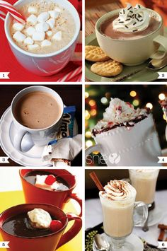 Six types of hot chocolate. Andrew would like the Almond Joy hot chocolate! Yummy Treats, Sweet Treats, Yummy Food, Tasty, Hot Chocolate Bars, Hot Chocolate Recipes, Cocoa Recipes, Chocolate Party, Drink Recipes