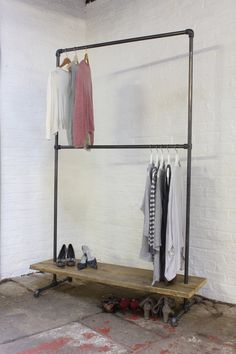 Laura Dark Steel Pipe Freestanding Double Clothes Rail/Rack with Bottom Shelf - Bespoke Urban Industrial Bedroom Furniture/Shop Fittings