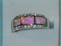 Beautiful PINK FIRE OPAL Silver Gemstone Ring for$25