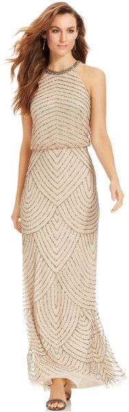 http://www.lyst.com/clothing/adrianna-papell-beaded-blouson-halter-gown-champagne/