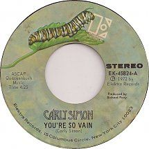 45cat - Carly Simon - You're So Vain / His Friends Are More Than Fond Of Robin - Elektra - USA - EK-45824 Kinds Of Music, I Love Music, Good Music, Old Records, Vinyl Records, I Write The Songs, Seasons In The Sun, Carly Simon, 70s Music