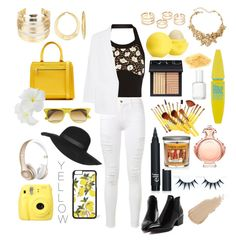 """""""Yellow."""" by lialena ❤ liked on Polyvore featuring Marni, Frame Denim, Victoria Beckham, DKNY, WithChic, Ross-Simons, Oscar de la Renta, Eos, Maybelline and NARS Cosmetics"""