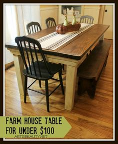Build a Farmhouse Table for Under $100 | Art Is Beauty featured on Remodelaholic.com #diy #farmhouse #table #buildit