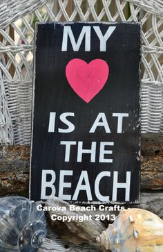 Beach Sign, Decor Coastal Nautical My Heart Is At The Beach Wood Sign, Hand Painted