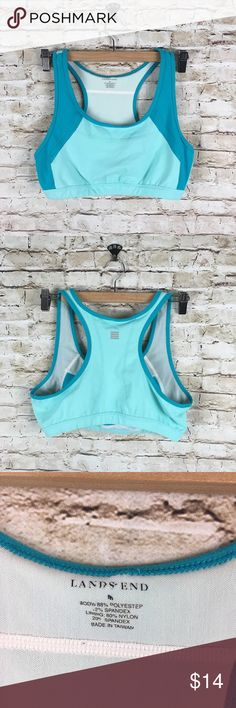 "Womens Lands' End racerback sports bra Sz M Womens Lands' End racerback sports bra   sz M   Color:  acqua/teal   Approximate measurements taken laying flat, un-stretched:   16"" pit to pit, 10"" length(centerback), 14"" hemline.   Gently used condition. No flaws. Lands' End Intimates & Sleepwear Bras"