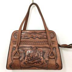 cbbf86ec3aa Vintage Hand Tooled Leather Purse Brown Handbag Flowers Floral Western Bag  Rose