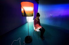Lap Lamp 2005 – Lamp is a video projector. You sit on the chair and watch the video projection on your lap. Quite personal, makes you vulnerable and potentially uncomfortable Computer Kunst, Pipilotti Rist, Lcd Television, Installation Art, Art Installations, Digital Tv, Magazine Art, Vulnerability, Multimedia