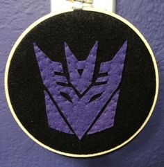 Decepticon Embroidery Hoop Wall Art!
