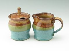 Pottery Sugar & Creamer Set Honey Brown and Jewel Blue - Stoneware Honey Jar and Pitcher, Pot Belly Style Coffee Set Ready to Ship
