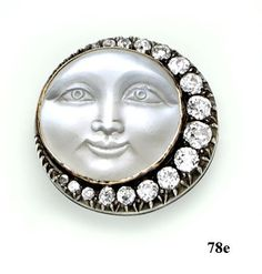 Edwardian Moonstone cameo, diamond, silver and gold man in the moon brooch
