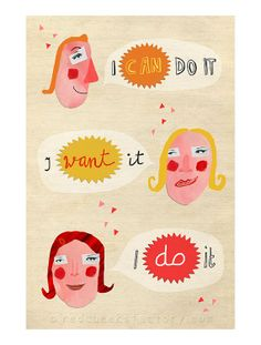 giclee print can want do positive wall decor by RedCheeksFactory