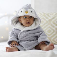 Personalised Grey Penguin Dressing Gown personalised humphrey elephant baby towel gift set by bathing bunnies Baby 1st Birthday Gift, Baby Towel, Baby Penguins, Cute Baby Clothes, New Baby Gifts, Personalized Baby, Baby Dress, Cute Babies, New Baby Products