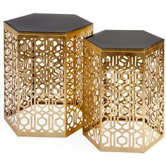Nikki Chu Lancaster Gold Mirror Table (Set of 2) from FROY