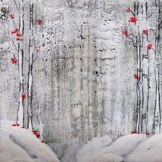 Encaustic - Winter Birches by Linda Virio
