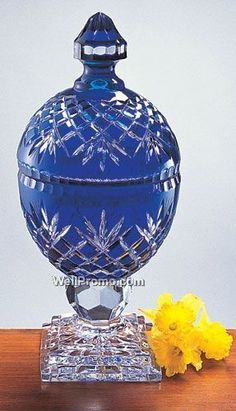 "14"" Oxford Cobalt Blue Crystal Covered Box"