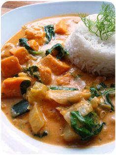 ...Soul Vood kocht & bloggt...: Indisches Süßkartoffelcurry mit Fenchel & Spinat