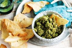 Kickstart the festivities with zesty olive dip and aromatic rosemary flatbreads. Crispbread Recipe, Green Olive Dip, New York Times Cooking, Garlic Dip, Fun Dip, Roast Eggplant, Healthy Baking, A Food, Healthy Life