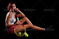 young girl with a tennis racquet ...  action, active, activity, adult, athlete, athletic, attractive, background, ball, beautiful, beauty, black, body, competition, competitive, female, fit, game, girl, healthy, leisure, lifestyle, play, player, posture, racket, racquet, sexy, sport, studio, tennis, women, young