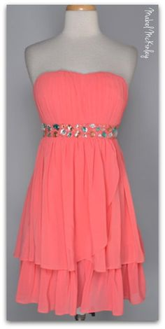 Gorgeous new arrival! Strapless goddess dress with bling! Delish chiffon - fully lined. (S-L)