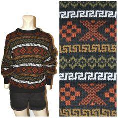 75cd71259fbbaf Vintage 1990 s Crazy Geometric Design Pattern Sweater Black Brown Orange  Men s Size Large Pullover Crewneck Warm Winter Acrylic Knit Jumper