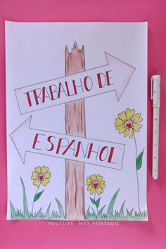 Capa para trabalhos escolares de Espanhol Diy Crafts For Bedroom, Diy And Crafts, Banners, Diy Baby Shower Decorations, Lettering Tutorial, Decorate Notebook, Bullet Journal Ideas Pages, Study Notes, Summer Diy
