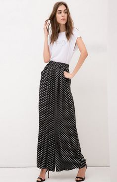 European Style Fashion Women Pants Career Party Dot Elastic Waist Loose Pants Bell-bottoms