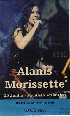 "Concerto: ""Alanis Morissette"", Pavilhão Atlântico, Pavilhão Atlântico, Lisboa a 29 de Junho de 1999."