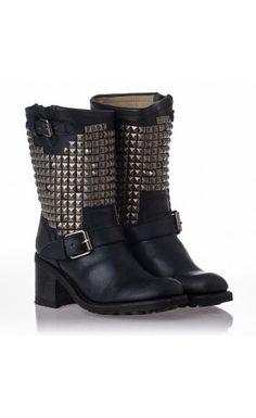 ASH Boots Women's Black Leather&Antique Studs Dean #ASH #FW14