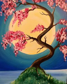Look at how bright the cherry blossoms are on the Japanese Spring painting from Pinot's Palette! #moonpainting #moonart