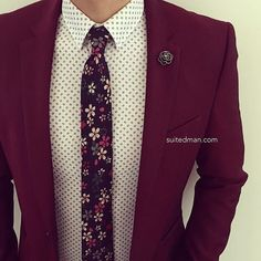 Love that @Suited_Man style with their wide selection of floral ties and accessories | Get them now at www.suitedman.com | Follow @suited_man #suitup @SuitedManStyle