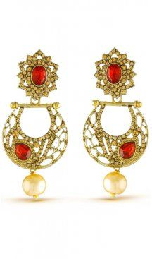 Elegant classic red stone with american diamonds diwali wear earrings. Gives you a charming look by wearing this earrings. Having material brass with studded stone and american diamonds. Offered with a set of earring Sapphire Earrings, Stone Earrings, Women's Earrings, Red Basket, Pearl Cream, Diamond Design, Chandelier Earrings, Fashion Earrings, Bridal Jewelry