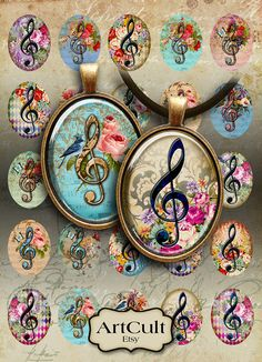 MUSIC CLEF - 30x40 mm Oval Images Digital Collage Sheet Printable download for bezel settings cabochons, glass and resin pendants