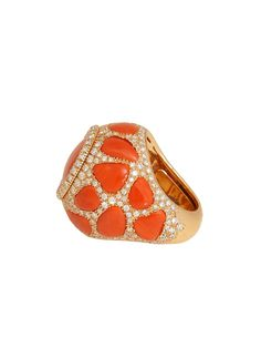 London Jewelers Collection 18K Rose Gold, Red Coral and Diamond Dome Ring!