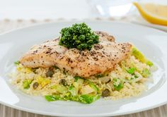 Pan Fried Fish with Lemon and Garlic Couscous recipe - Countdown Recipes Simple Recipes, Light Recipes, Free Recipes, Healthy Recipes, Couscous Recipes, Bbc Good Food Recipes, Cooking Recipes, Yummy Food