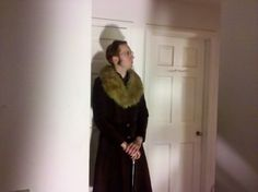 Vintage full leather with a fur collar.