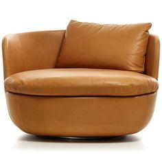 Moooi Bart Swivel Armchair - Cervino Leather - Cognac                                                                                                                                                                                 More