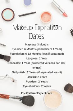 Makeup Expiration Dates. Learn when to throw out old makeup along with DIY Brush Cleaner and DIY Makeup Sanitizer | www.theperfumeexpert.com