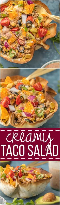 We love this CREAMY TACO SALAD any night of the week. With a homemade tortilla bowl and loaded with all the toppings, it can't be beat.
