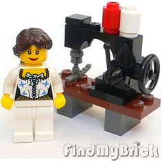 - R3 Lego Clothes Maker Girl Minifigure with Sewing Machine