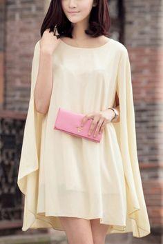 Cape Design Chiffon Dress