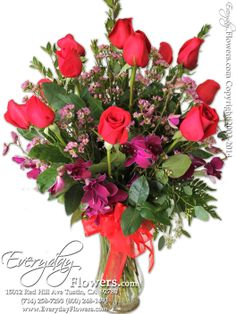 Dozen Red Ross With Orchids