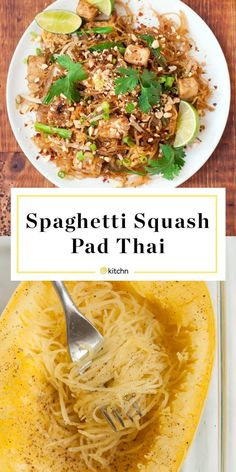 Spaghetti Squash Pad Thai It has all the hallmarks of your favorite takeout pad Thai — except those spaghetti squash noodles are the star of the show. This HEALTHY Vegetarian Recipes, Cooking Recipes, Healthy Recipes, Vegetarian Spaghetti Squash Recipes, Vegetarian Pad Thai, Vegan Squash Recipes, Veggie Pad Thai, Tofu Pad Thai, Gourmet