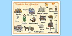 The Great Fire of London Scene Word Mat - Great, Fire, London Fire London, Great Fire Of London, The Great Fire, Primary Teaching, Teaching Ideas, Tower Of London, River Thames, Biomes, English Lessons