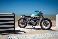 California Dreaming: A brat style Triumph Bonneville by FCR Original. Triumph Bonneville, Triumph Scrambler, Street Scrambler, Bmw Motorcycles, Triumph Motorcycles, Custom Motorcycles, Custom Bikes, Street Tracker, Style Cafe Racer