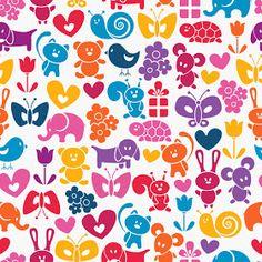 Bezierinfoベジェインフォ: カラフルな動物のシームレス パターン背景 Cute cartoon animals background イラスト素材