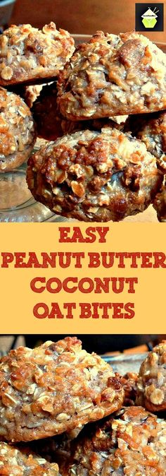 Easy Peanut Butter Coconut Oat Bites ~ packed full of tasty goodies, and quick and easy to make! Just Desserts, Delicious Desserts, Yummy Food, Cookie Recipes, Dessert Recipes, Coconut Peanut Butter, Coconut Bars, Almond Butter, Chips